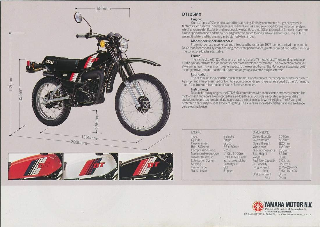 Yamaha DT 125MX For Sale Specifications, Price and Images