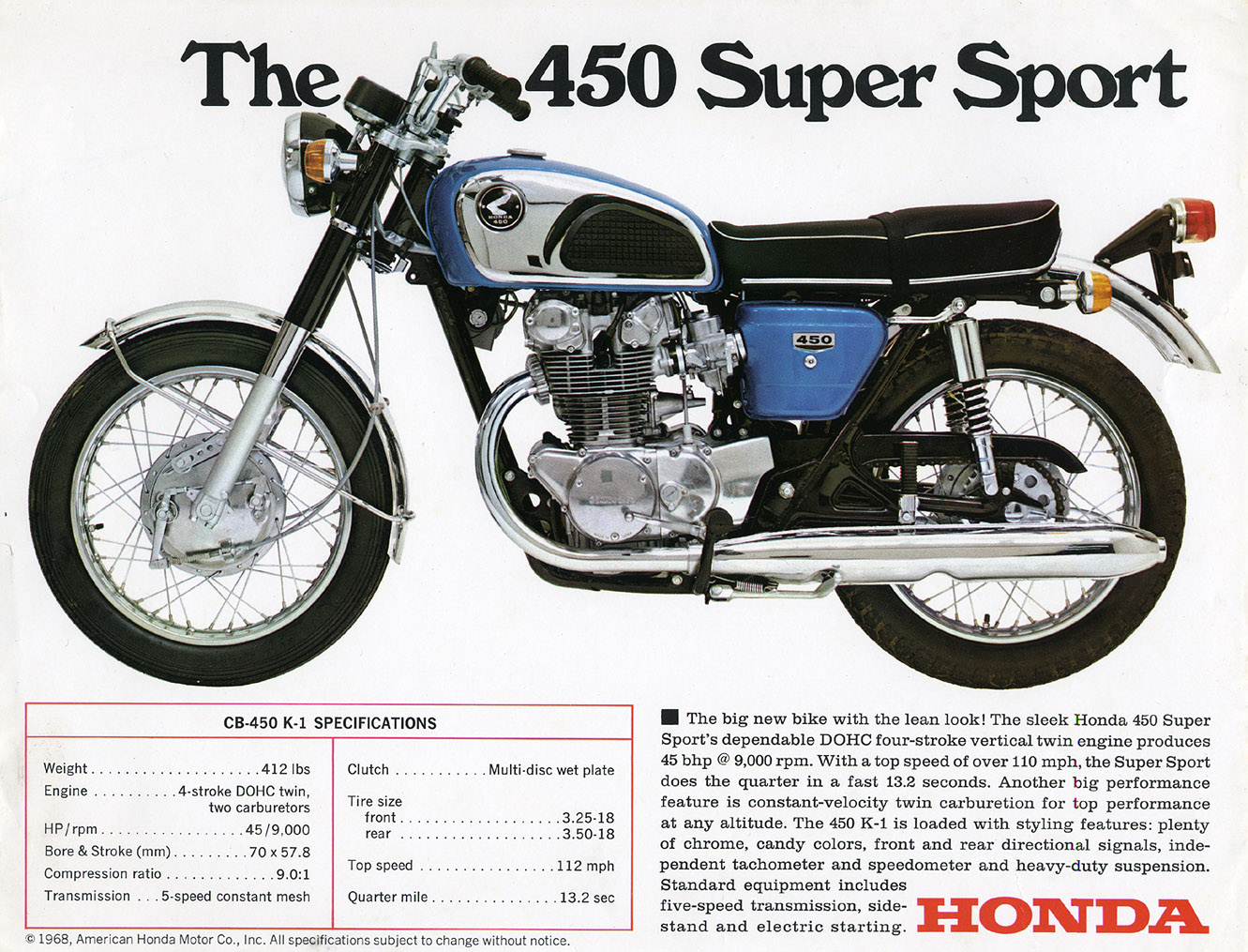 Honda CB 450 For Sale Specifications, Price and Images